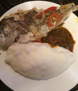 Sadza meal with fish