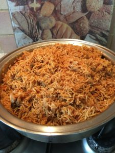 This Jollof rice was cooking with no oil at all