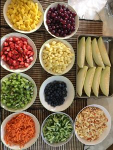 A selection of fruits and vegetables